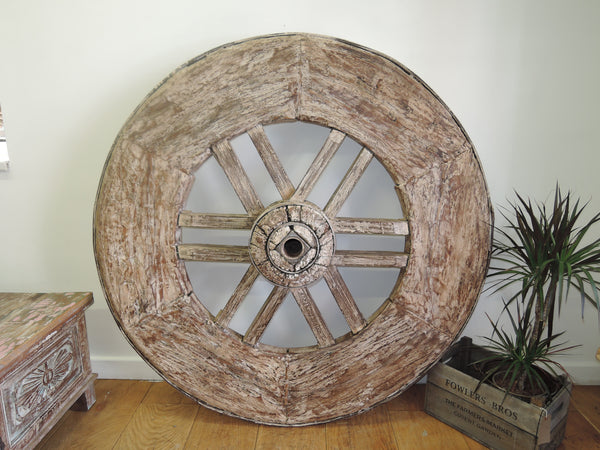 EXTRA LARGE 107CM DIAM GENUINE VINTAGE OX CART /WAGON WHEEL OVER 90 KILOS