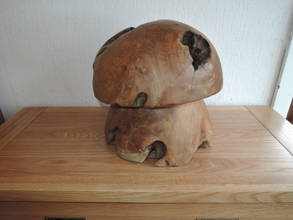 TEAK ROOT RECLAIMED DECORATIONS LARGE MUSHROOM SOLID TEAK INDOOR OR OUT AT003A