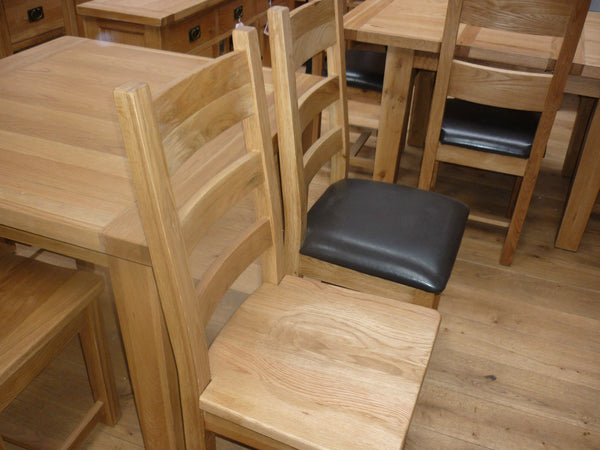 VANCOUVER SOLID RECLAIMED OAK TABLE 140 TO 180CM AND 6 CHAIRS NB005 & NB003 ,