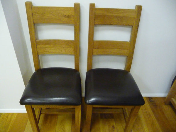 VANCOUVER PREMIUM SOLID OAK & LEATHER SEATED CHAIRS  CODE NB003