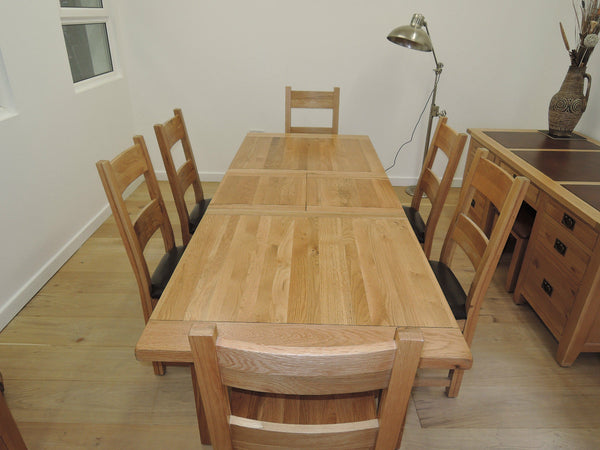 VANCOUVER OAK 1.8m-2.3m EXTENDING TABLE AND 6 SOLID OAK OR LEATHER CHAIRS NB006