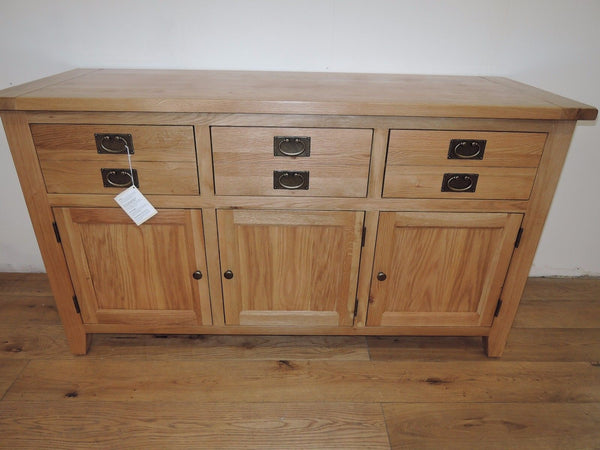VANCOUVER PREMIUIM SOLID OAK 3 DRAWER 3 DOOR SIDEBOARD VXD005