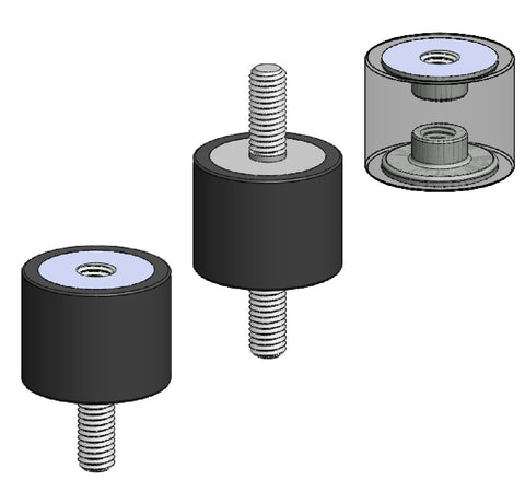 Rubber bobbins in three configurations male-male, male-female, female-female