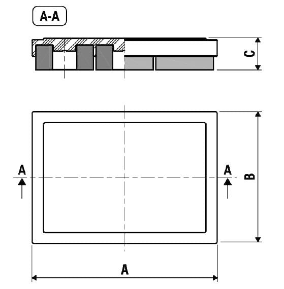 Dimensions for single rubber G Pad