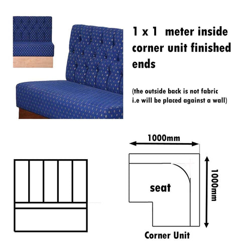 Bench Seat - 1 X 1  Meter Inside Corner Unit Button Back Bench Seat