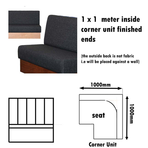 Bench Seat - 1 X 1  Meter Inside Corner Unit Plain Bench Seat