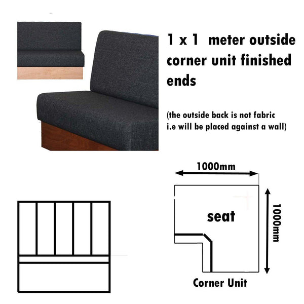 Bench Seat - 1 X 1  Meter Outside Corner Unit Plain Bench Seat