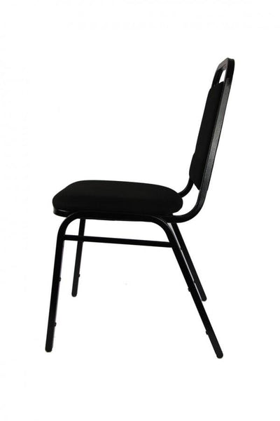 Stacking Chair - Economy Steel Banqueting Chair - Black Vein Black Fabric