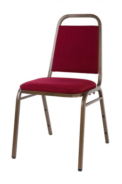 Stacking Chair - Economy Steel Banqueting Chair - Gold Vein Burgundy Fabric