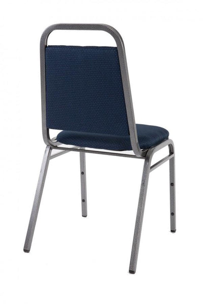 Stacking Chair - Economy Steel Banqueting Chair - Silver Vein Blue Fabric