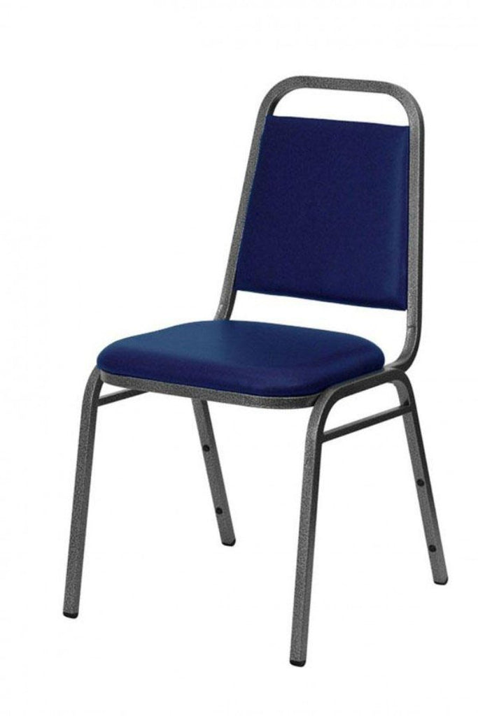 Stacking Chair - Economy Steel Banqueting Chair Silver Vein Blue Vinyl Fabric