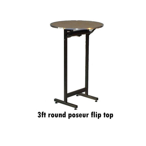 Tables - 3ft  Posuer Flip Top Deluxe Folding Flock Top Table