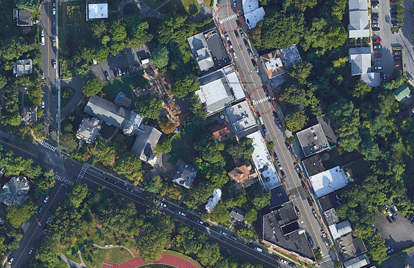 The Jogging Jeweler - Cedar St Crosswalk locations in Dobbs Ferry, Pedestrian Safety