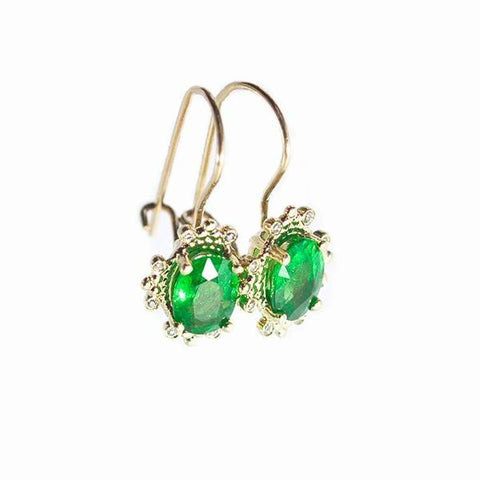 Alice & Chains Jewelry - Green Garnet 14K Earrings Yellow Gold Dobbs Ferry, NY