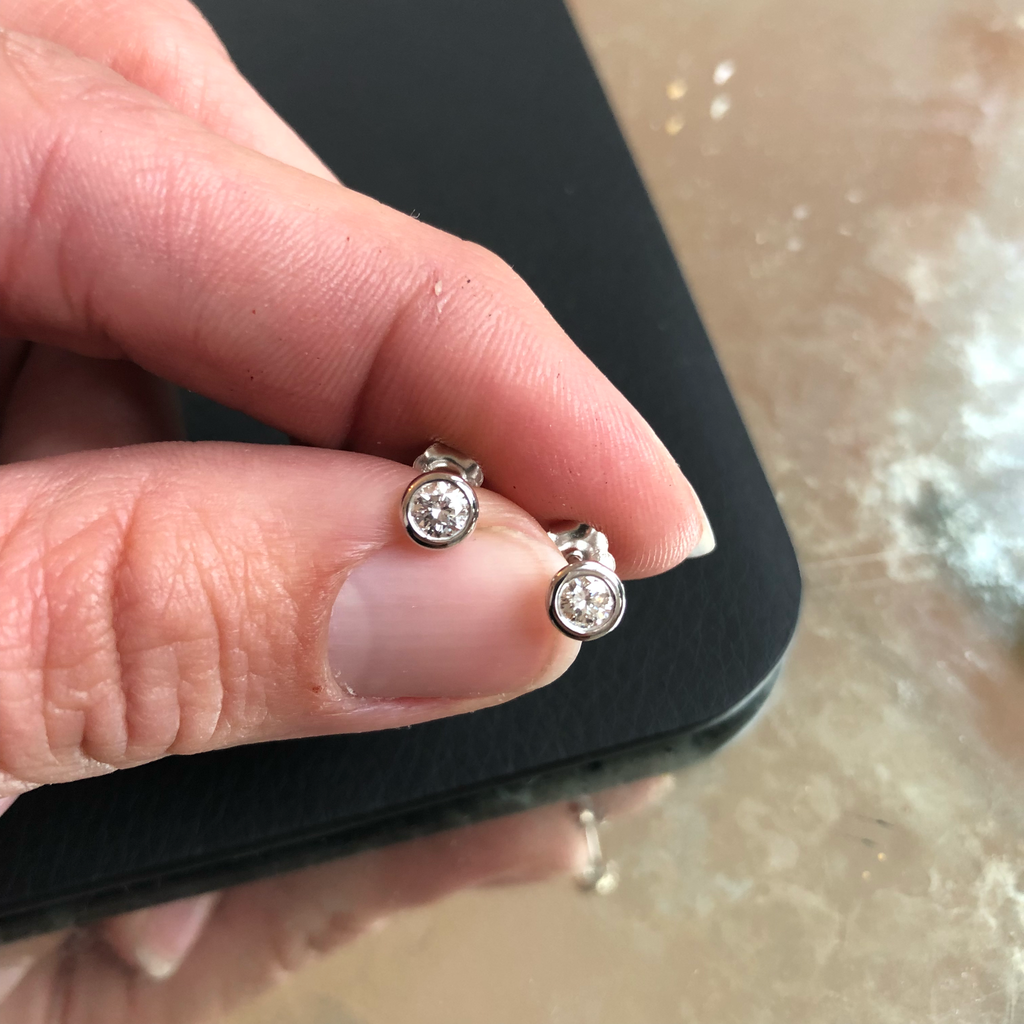 Post Diamond Earrings - Alice & Chains Jewelry, Houston Jewelry Designer
