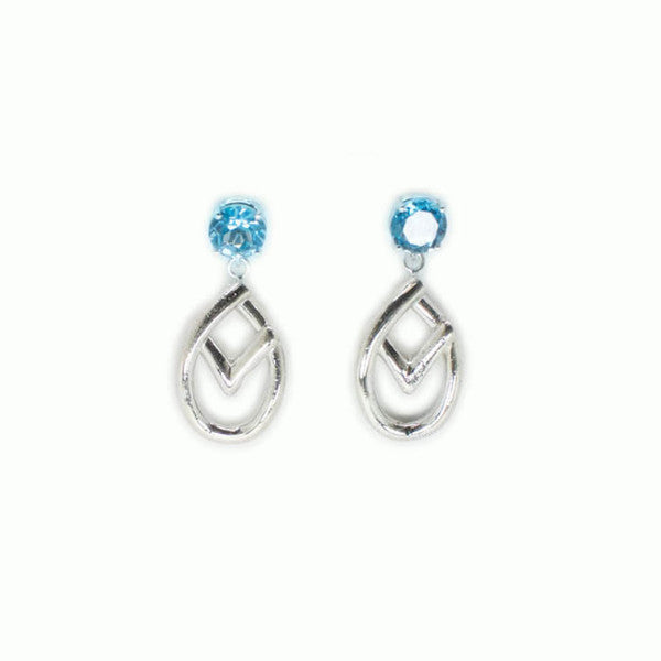 Blue Topaz Celtic Earrings - Alice & Chains Jewelry, Dobbs Ferry jewelry designer, Rivertowns jewelry designer, Westchester jewelry designer, topaz earrings, sterling silver earrings, celtic jewelry, celtic earrings
