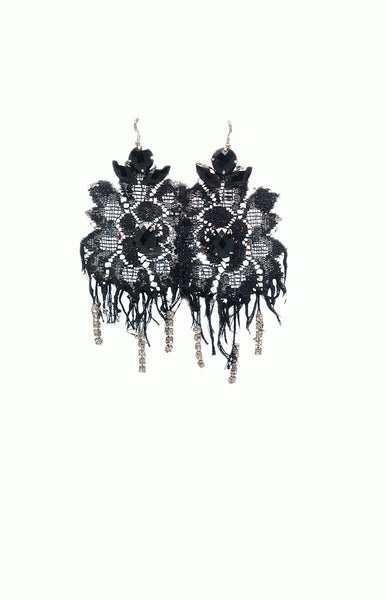 Black Lace Couture Earrings - Alice & Chains Jewelry, Houston Jewelry Designer