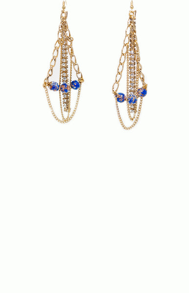 Blue Bead Vintage Chain Earrings - Alice & Chains Jewelry, Houston Jewelry Designer