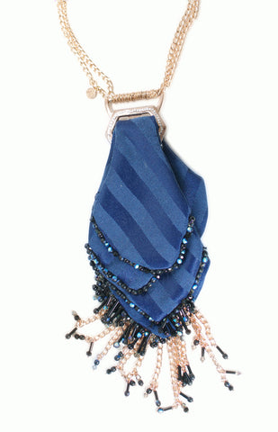 Blue Tie Necklace - Alice & Chains Jewelry, Dobbs Ferry, Rivertowns, Westchester jewelry designer, fashion jewelery, statement necklace