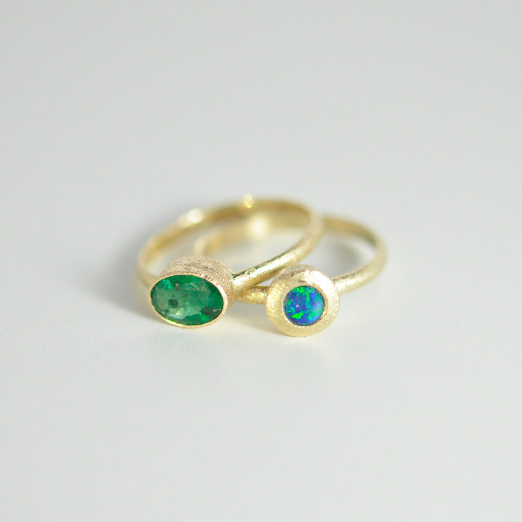 Alice & Chains Jewelry, Emerald Opal Gold Stacking rings, opal ring, emerald ring, gold rings, stacking rings, bespoke jewelry designer, Dobbs Ferry, Rivertowns, Westchester, jewelry designer