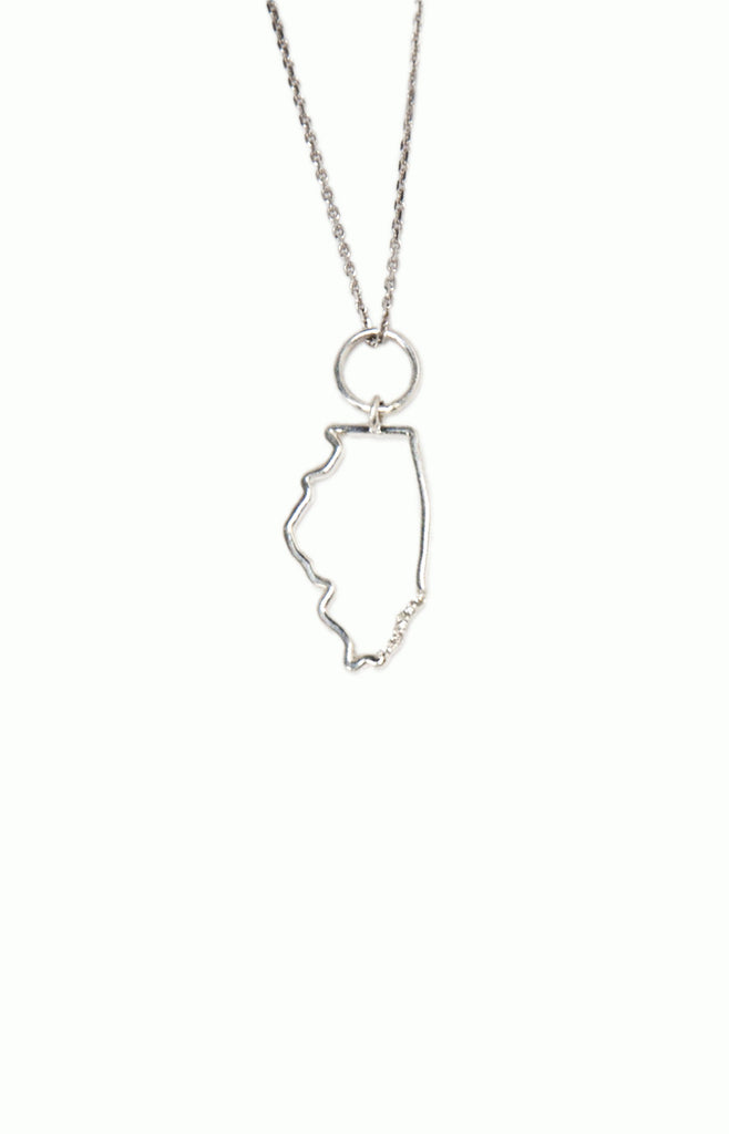 Silver Diamond Illinois State Necklace - Alice & Chains Jewelry, Houston Jewelry Designer