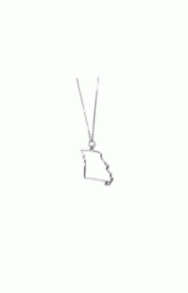 Alice & Chains Jewelry, Show Me State Necklace, Missouri, Missouri necklace, sterling silver missouri, sterling silver and diamond necklace, silver and diamond necklace, made in new york, dobbs ferry, rivertowns, westchester, jewelry designer, bespoke jewelry