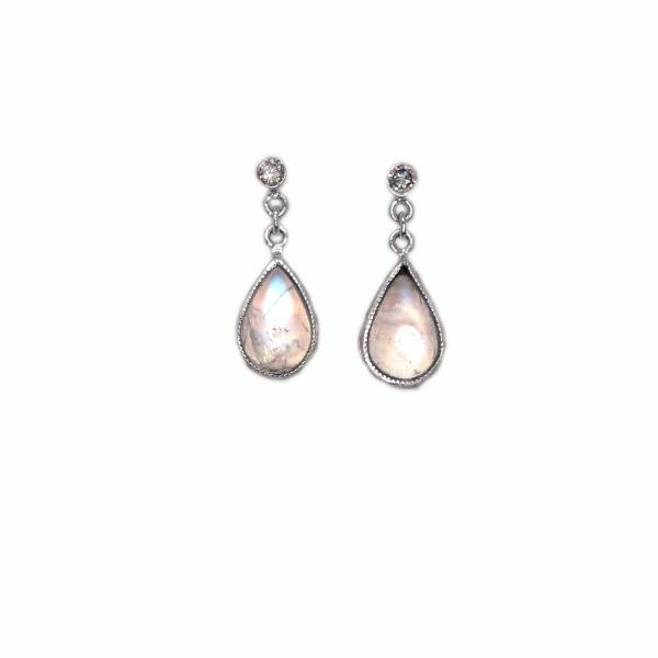 Moonstone Diamond Earrings - Alice & Chains Jewelry, Houston Jewelry Designer