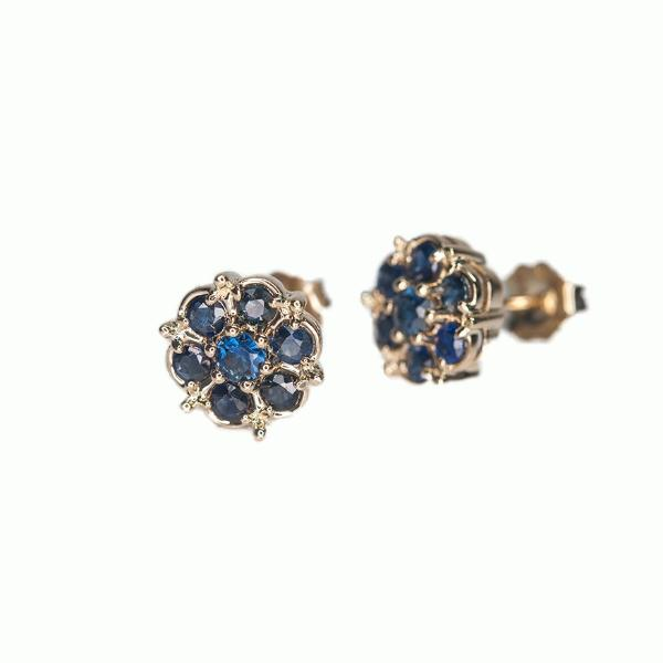 Sapphire Cluster Earrings - Alice & Chains Jewelry, Houston Jewelry Designer