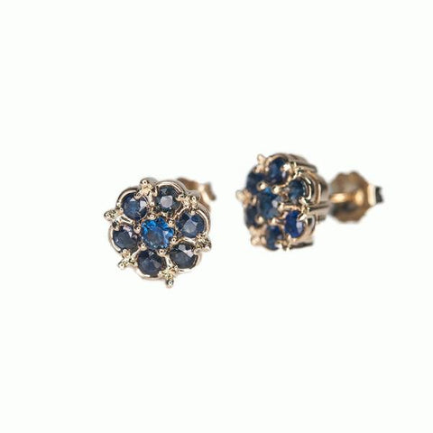 Alice & Chains Jewelry - Sapphire Cluster Earrings, Dobbs Ferry Jeweler, Westchester Jeweler