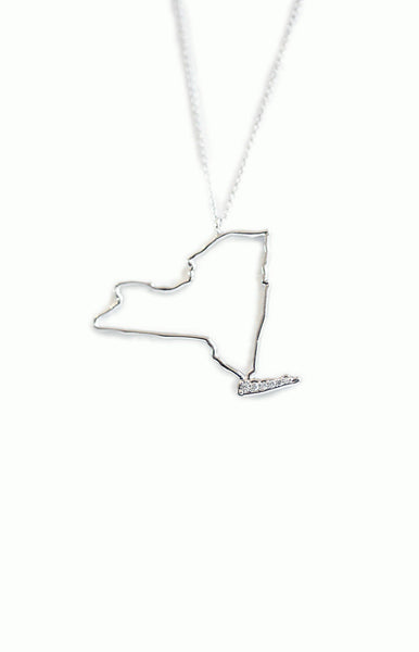 New York State Necklace - Alice & Chains Jewelry, white gold and diamond necklace, New York Necklace, made in new york, Dobbs Ferry, Jewelry Designer, bespoke jewelry,