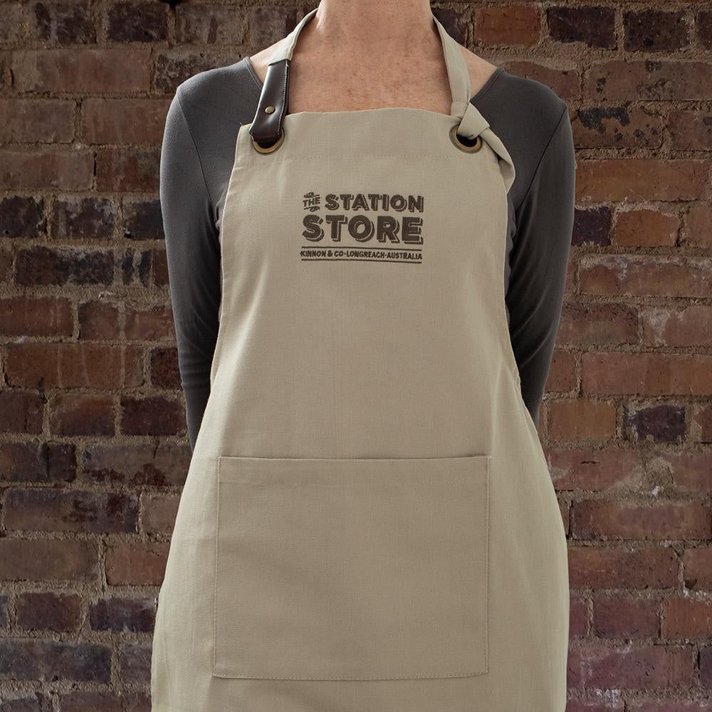 The Station Store Canvas Apron with embroidered logo