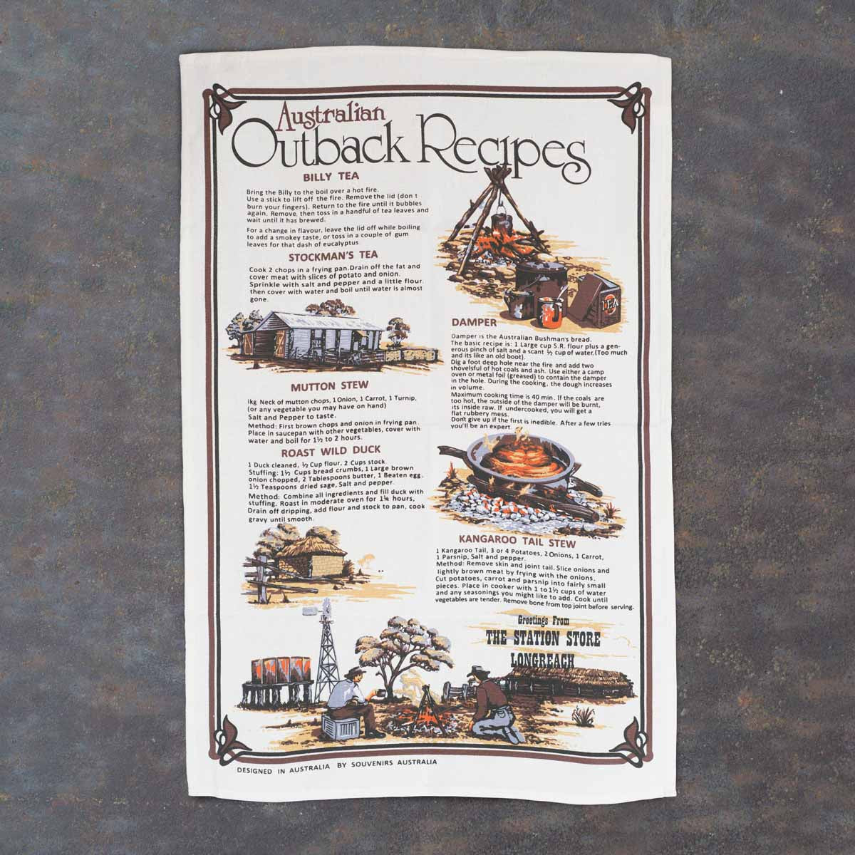 100% Cotton Outback Recipes Tea Towel