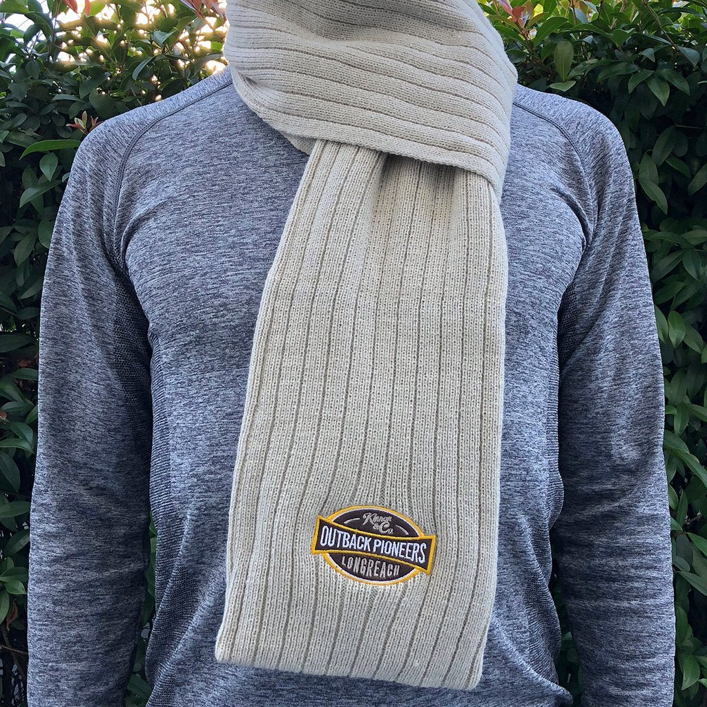 Scarf with embroidered outback pioneers logo