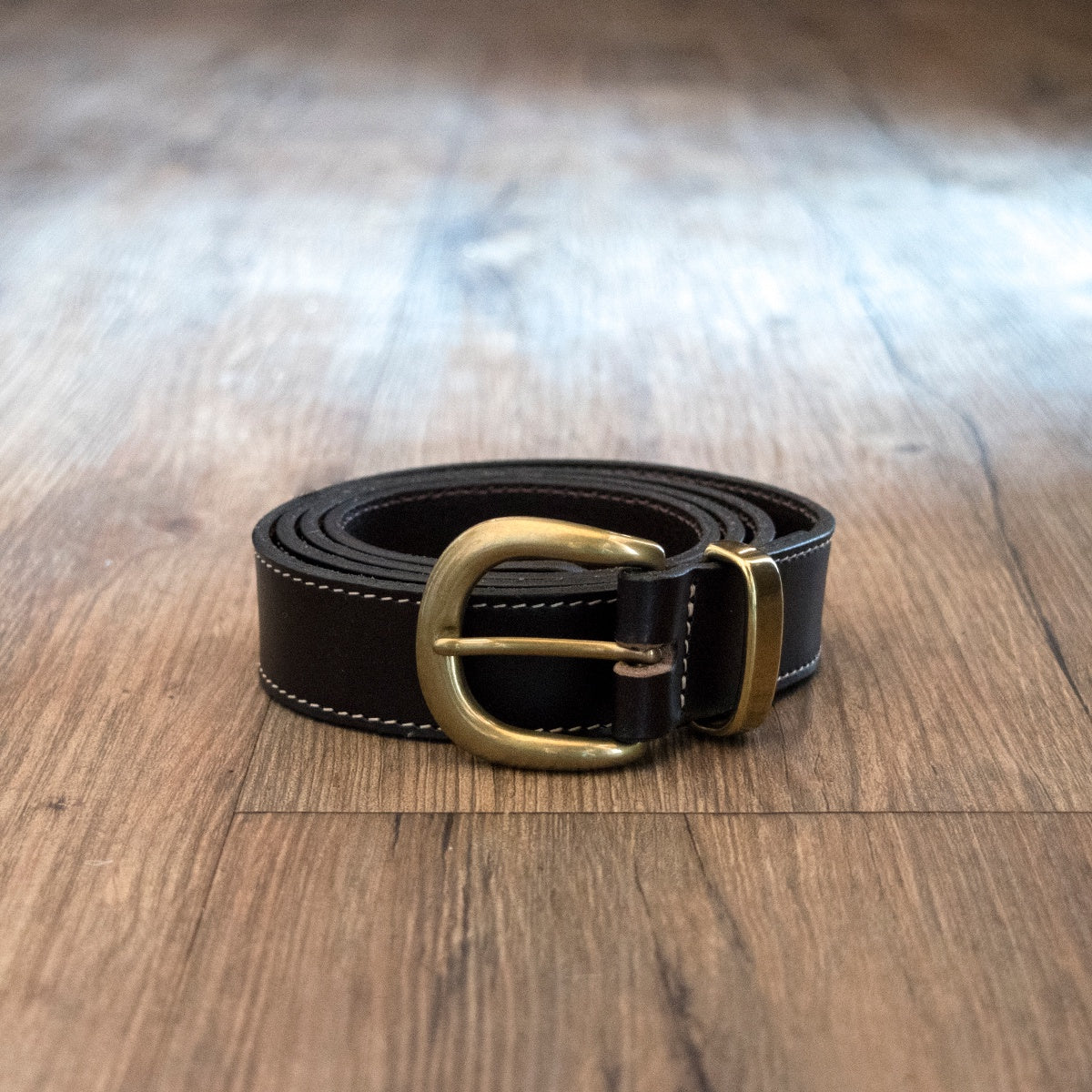 Australian made leather belt with brass buckle