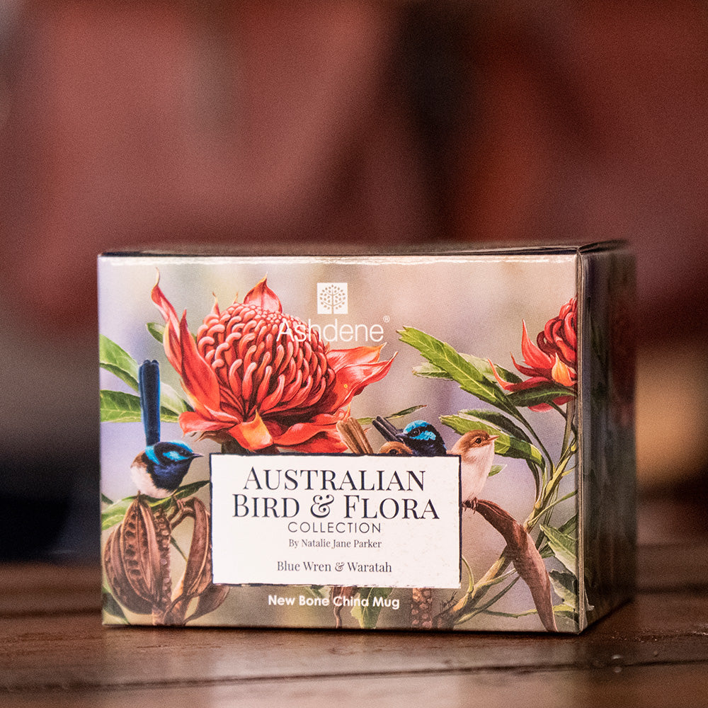Gift Box Ashdene Australian Bird and Flora Collection - Blue Wren and Waratah Mug