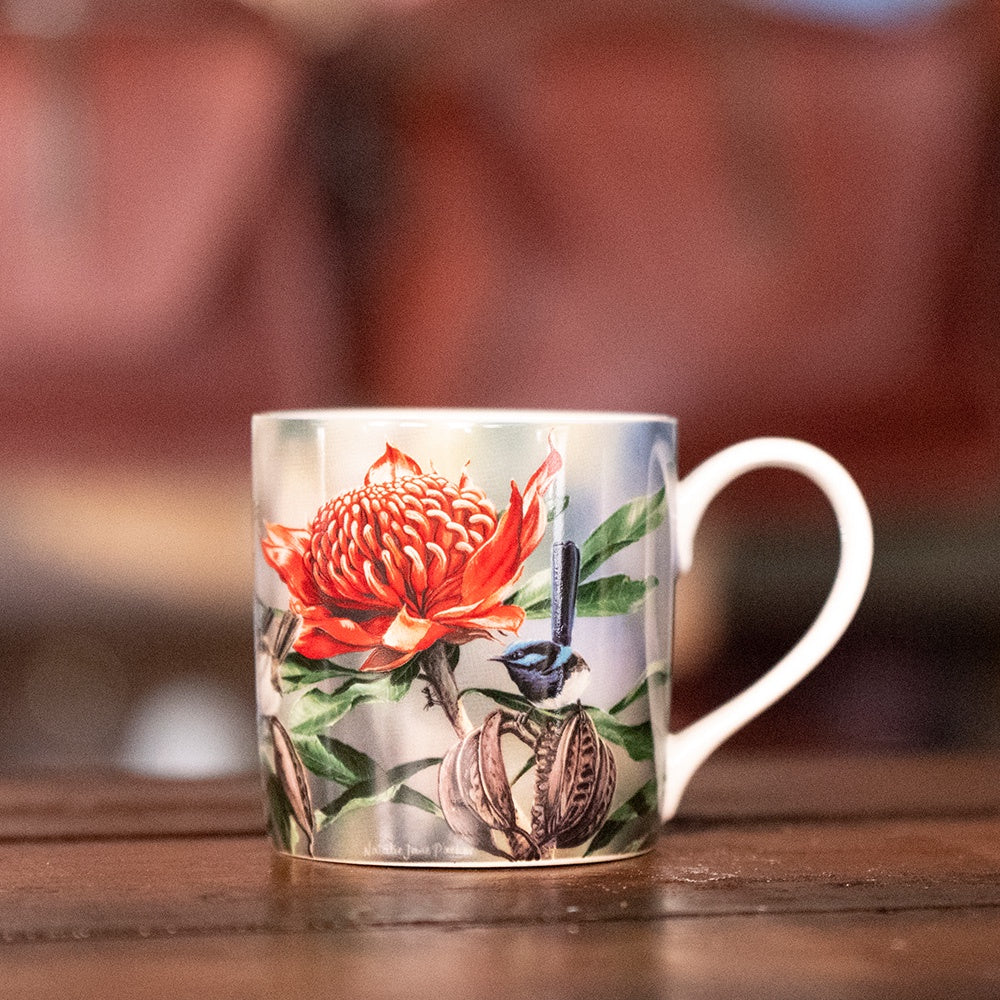 Ashdene Australian Bird and Flora Collection - Blue Wren and Waratah Mug