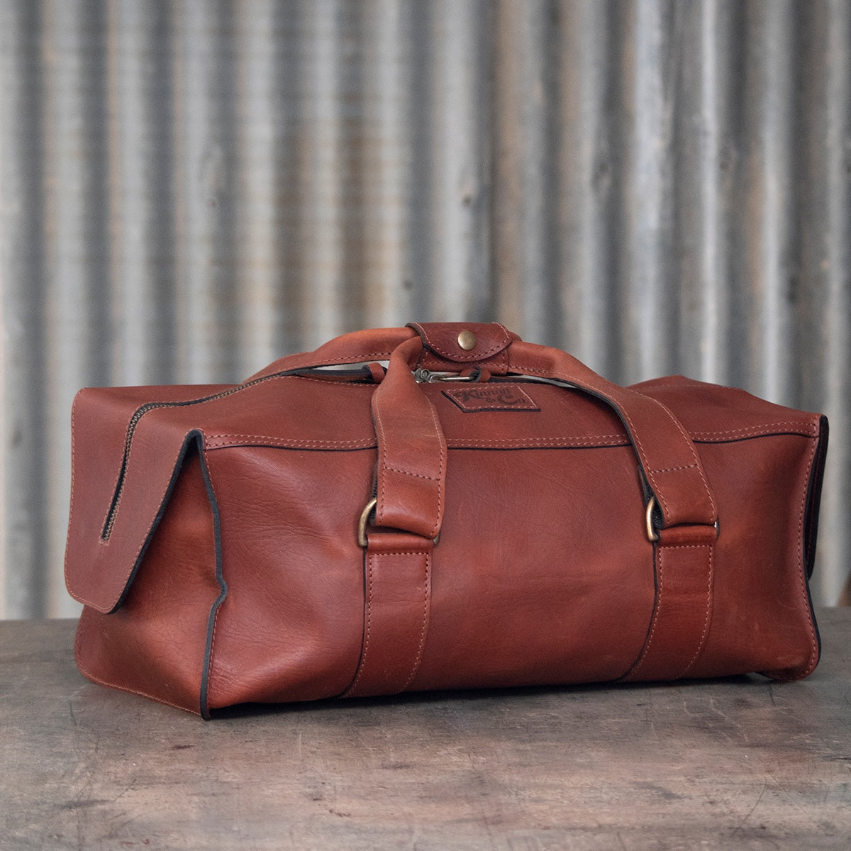 Leather Weekender Bag - Small, branded Kinnon and Co