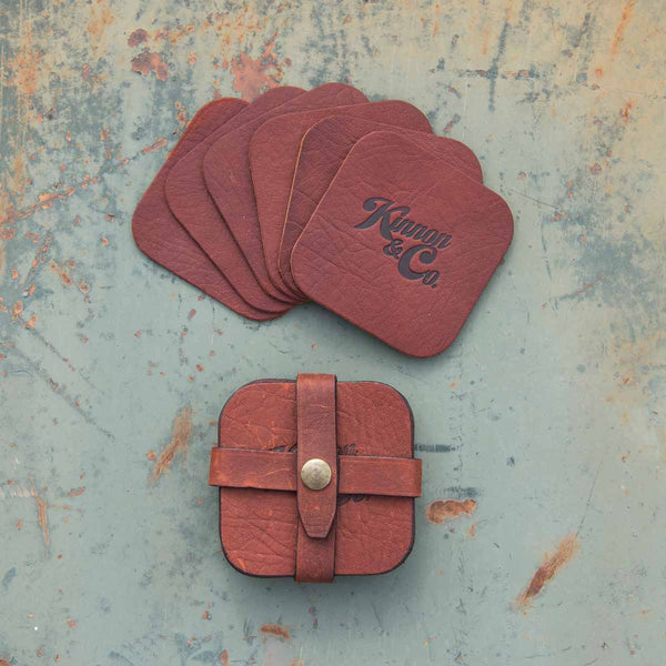 Kinnon and Co branded leather coasters