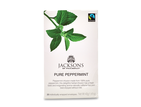 Jacksons Fairtrade Pure Peppermint String and Tag Tea Bags (20x25g)