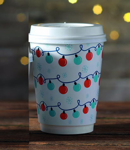 12oz Festive Print Hot Drink Paper Cups (1x500)