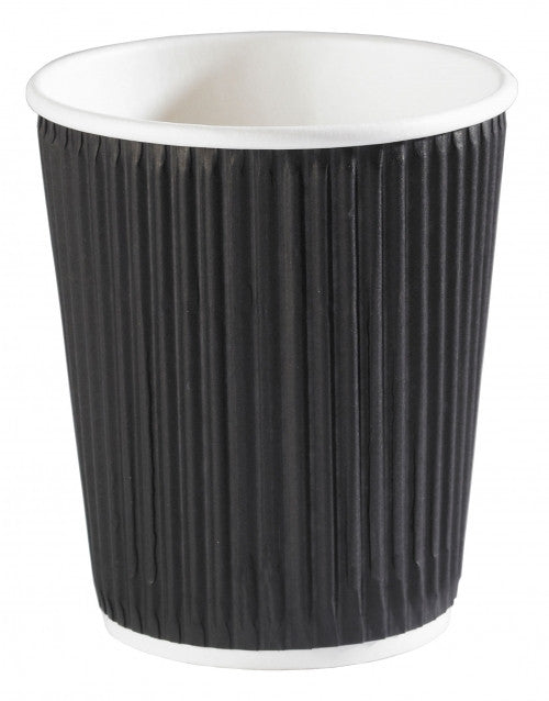 8oz Black Ripple Wall Paper Cups (1x500)