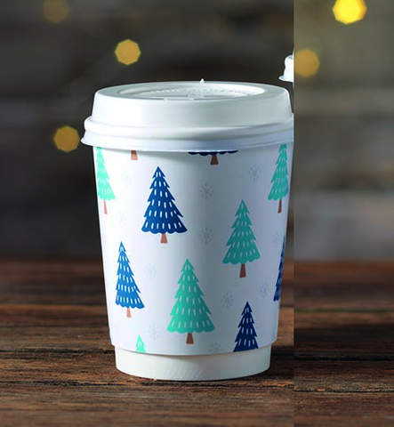 8oz Festive Print Hot Drink Paper Cups (1x500)