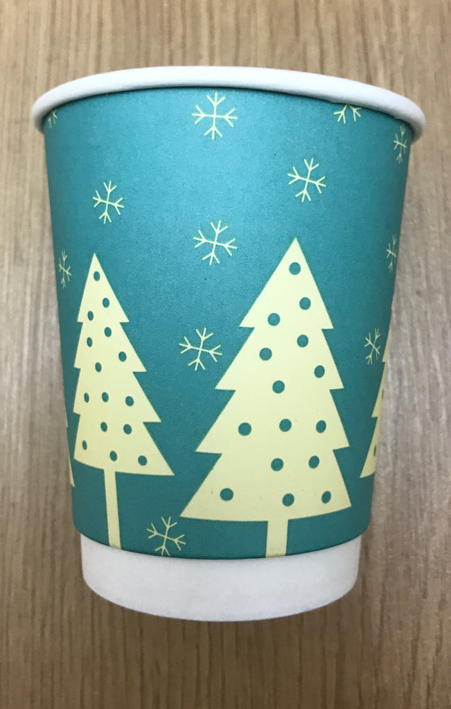 8oz Festive Print Hot Drink Paper Cups (V2018) (1x500)