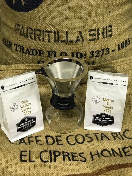 White Rose Coffee Roasters Pour Over Coffee Brewer with 2 x 250g Ground Coffee Packs