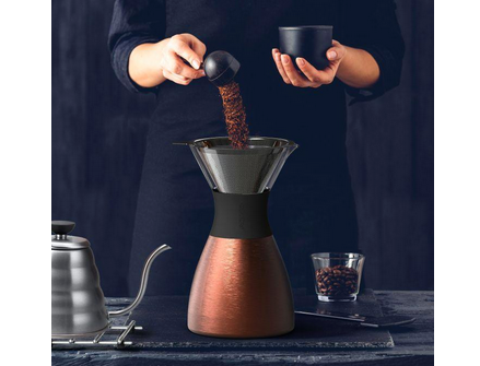 Asobu Pour over Coffee Brewer with insulated coffee flask in Copper