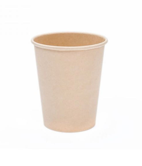 8oz Bamboo Hot Drink Kraft Single Wall Disposable Paper Cups (1000)