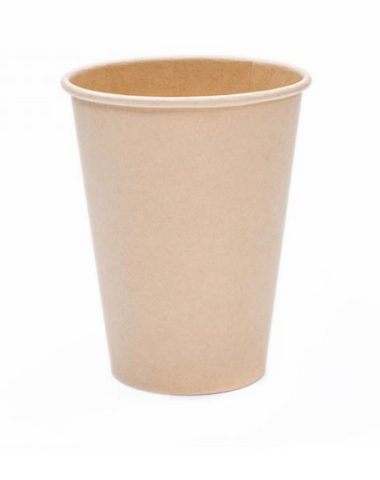12oz Bamboo Hot Drink Kraft Single Wall Disposable Paper Cups (1000)