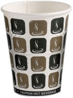 12oz Mocha Print Single Wall Hot Drink Disposable Cups (1000)