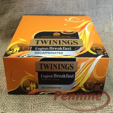 Twinings English Breakfast Decaff String and Tag Tea Bags (100x2g)
