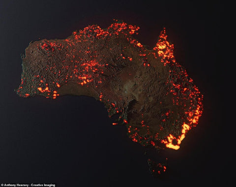 australia bushfire nasa map